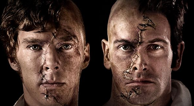 "Benedict Cumberbatch and johnny Lee Miller in stage production of ""FRANKENSTEIN"" directed by Danny Boyle"