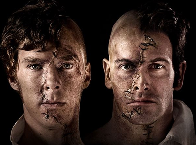 """Benedict Cumberbatch and johnny Lee Miller in stage production of """"FRANKENSTEIN"""" directed by Danny Boyle"""