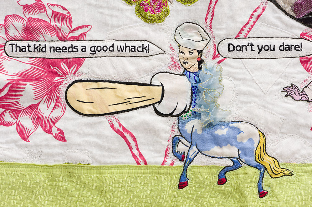 """Detail: The Shape of Things to Come, 2014. 32"""" x 38"""" Fabric, lace, thread, button, fusible adhesive."""