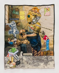 "China Marks, ""Dinner at Our House,"" 2015. Fabric, thread, lace, metal, buttons, coated wire, sequin, fusible adhesive on a contemporary tapestry, 34 x 27 inches. Photo by Jeffrey Scott French."