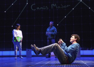 """Curious Incident of the Dog in the Night-Time. ""Foreground, Adam Langdon, background, Maria  Elena Ramirez. Photo by Joan Marcus."
