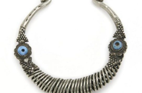 This choker made of silver and blue glass beads is part of the new Funk Center exhibition spotlighting the art and craft of the Bedouin. Photo courtesy of the Nance Collection, McClure Archives and University Museum, University of Central Missouri.
