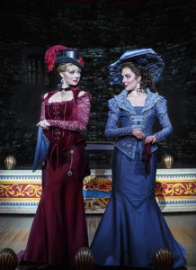 "National Touring Company. Kristen Beth Williams as Sibella Hallward and Kristen Hahn as Phoebe D'Ysquith in a scene from ""A Gentleman's Guide to Love & Murder."" Photo credit: Joan Marcus."