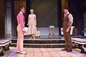 Matthew Goodrich as Jay Gatsby, Kathryn Miller as Daisy Buchanan, and Christian Ryan as Tom Buchanan star in Orlando Shakespeare Theater's production of The Great Gatsby. Photo by Tony Firriolo.