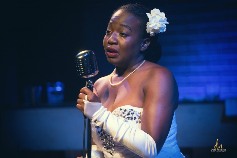 Kristen Warren is Billie Holiday in the Henegar Center's production of LADY DAY AT EMERSON'S BAR AND GRILL. Photo by Dana Niemeier