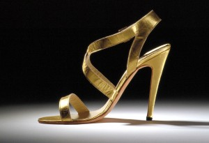 Sandal, Manolo Blahnik, early 1990s. Collection of the Bata Shoe Museum. Photography by Ron Wood; Headshot courtesy of Elizabeth Semmelhack.