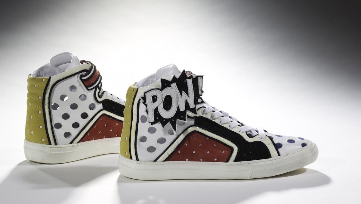 Sneakers, Pierre Hardy, 2011. Collection of the Bata Shoe Museum. Photography by Ron Wood; Headshot courtesy of Elizabeth Semmelhack.