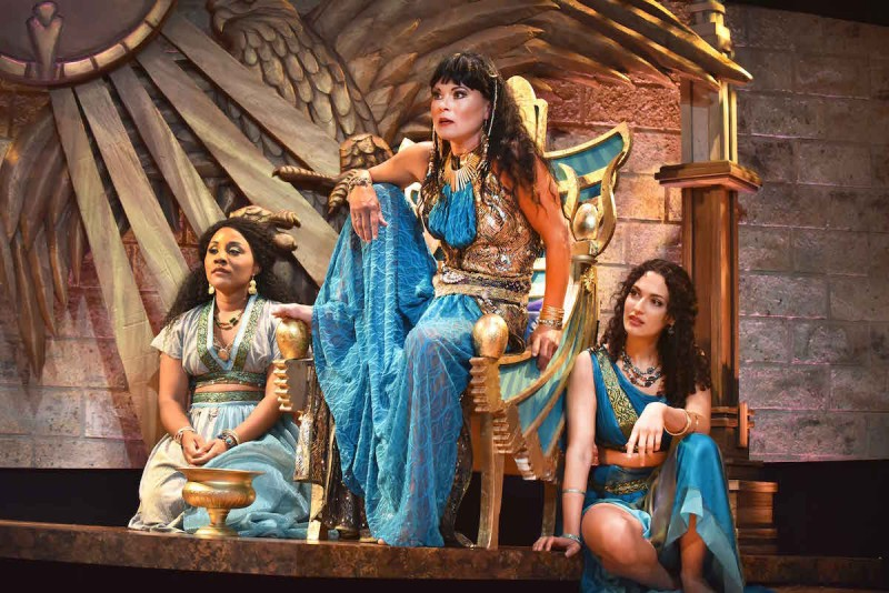 Roberta Emerson as Iras, Caralyn Kozlowski as Cleopatra, and Sophia Blum as Charmian star in Orlando Shakespeare Theater's production of Antony and Cleopatra. Photo by Tony Firriolo.