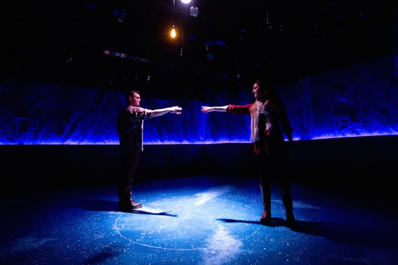 Brett Waldon and Gemma Victoria Waldon in CONSTELLATIONS at Mad Cow Theatre. Photo by Tom Hurst