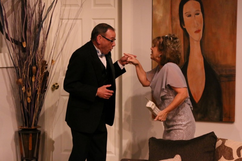 Bob Campbell and Sally Contess in RUMORS at Melbourne Civic Theatre. Photo by Max Thornton.