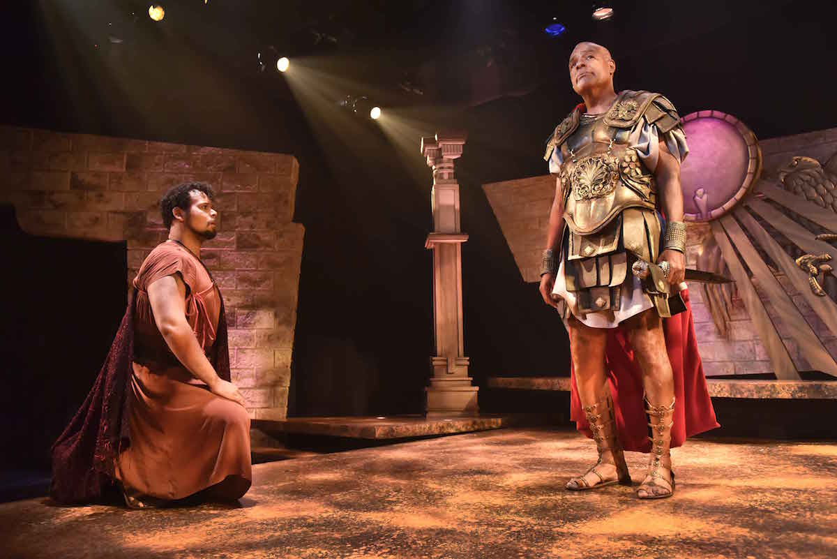 Topher Embrey as Eros and Michael Dorn as Antony star in Orlando Shakespeare Theater's production of Antony and Cleopatra. Photo by Tony Firriolo.
