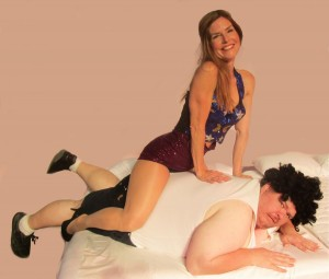 Maria Alvey and Chris Tsocanos in THE RITZ at Surfside Playhouse.