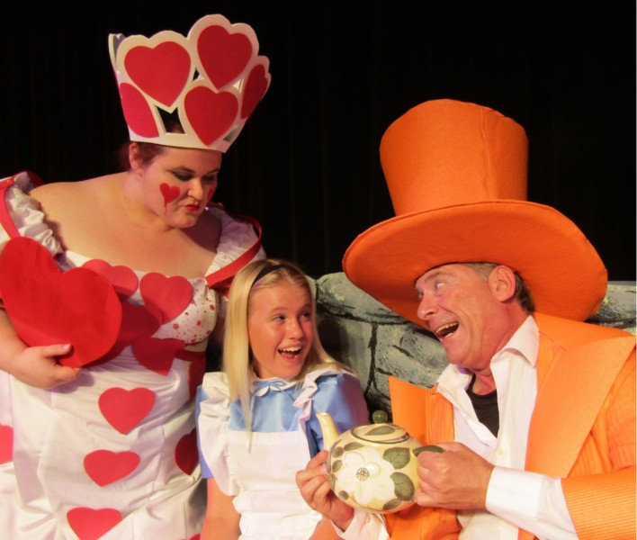 Alice in Wonderland at Surfside Playhouse features Dorothy Wright as Queen of Hearts, Sage Parrish as Alice and Gordon Ringer as Mad Hatter.