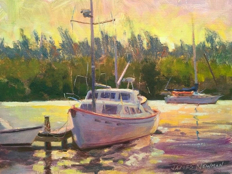 """Sunset with Sailboat"" by James Newman"