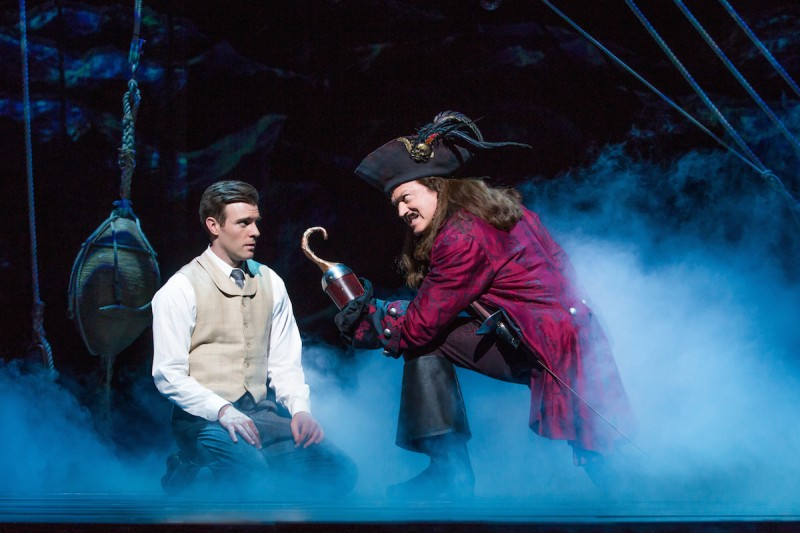"Billy Harrigan Tighe as JM Barrie and Tom Hewitt as Captain Hook in ""Finding Neverland"" Photo Credit Jeremy Daniel"