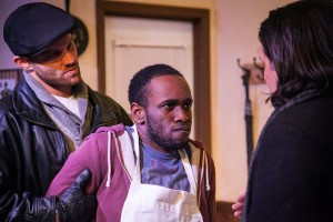 From left: Zack Roundy, Sean Philippe and Marco DiGeorge in SUPERIOR DONUTS. Photo by Monica Mulder Photography,