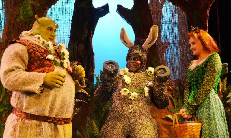 From left: Joe Tokarz, Sterling Lovett and Sarah Biggs in SHREK THE MUSICAL at Titusville Playhouse
