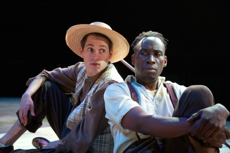 Jeffrey Todd Parrott and Clinton Harris in BIG RIVER at Mad Cow Theatre. Photo by Tom Hurst.