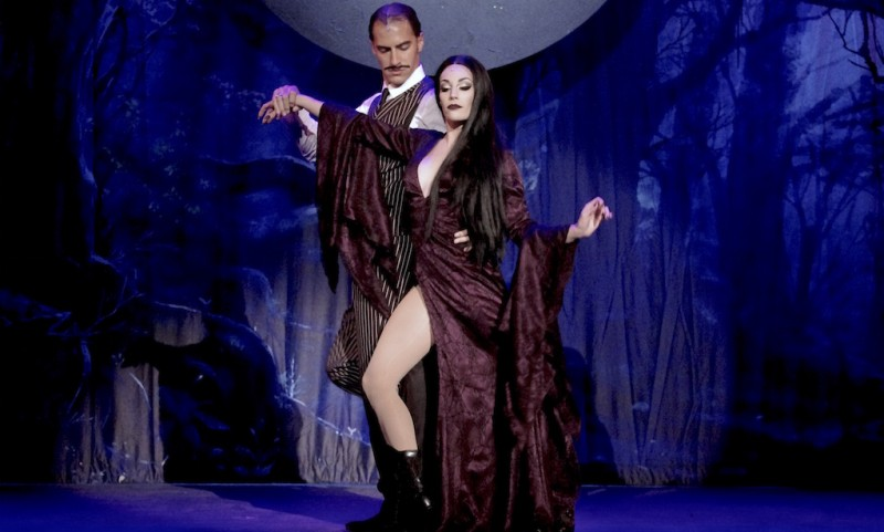Alexander Nathan is Gomez and Alejandra Martinez is Morticia in Titusville Playhouse's THE ADDAMS FAMILY. photo by Steven Heron.