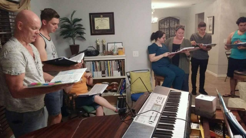"Rehearsing Henegar's production of ""Sweeney Todd"" at Kristin Springer's in West Melbourne."