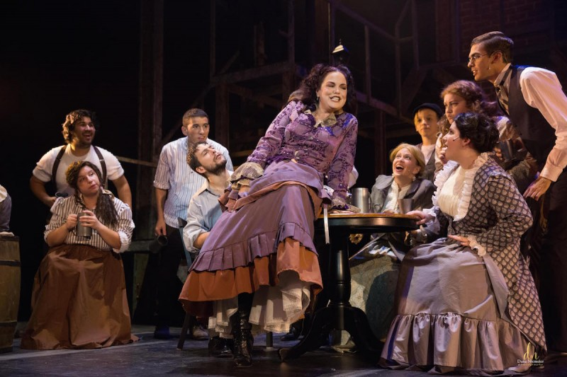 Shane Frampton as Mrs. Lovett in SWEENEY TODD at the Henegar Center. Photo by Dana Neimeier