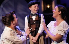 From left: Traci McGough (Mrs. Paroo), Cooper Mangini (Winthrop) and Mary Henderson (Marian) in THE MUSIC MAN at Titusville Playhouse. Photo by Chad Horne