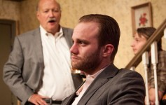 From left: Allan Whitehead, Zack Roundy and Adam Minossora  in ORPHANS at Theater on the Edge. Photo by Monica Mulder Photographer.