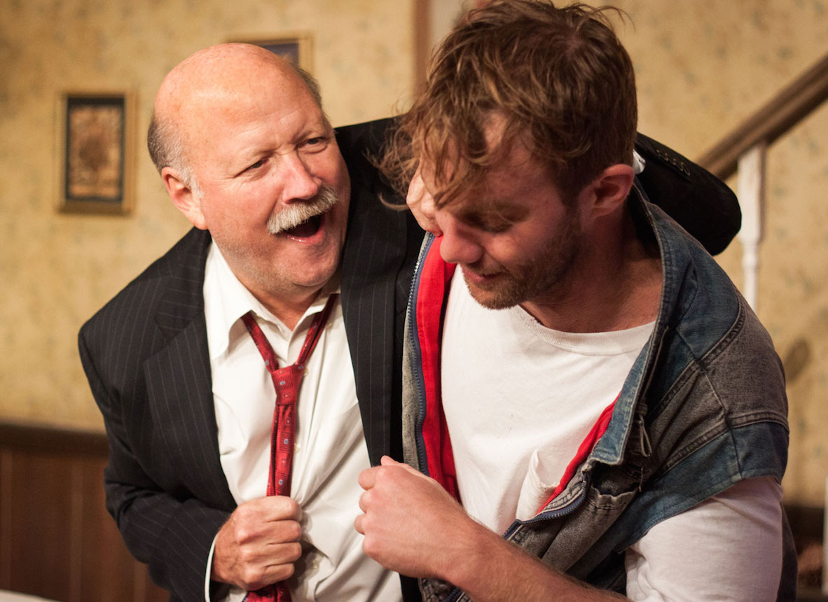 From left: Allan Whitehead and Zack Roundy in ORPHANS at Theater on the Edge. Photo by Monica Mulder Photographer.