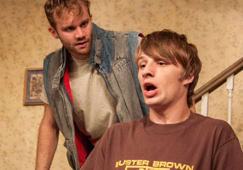 From left, Zack Roundy and Adam Minossora  in ORPHANS at Theater on the Edge. Photo by Monica Mulder Photographer.