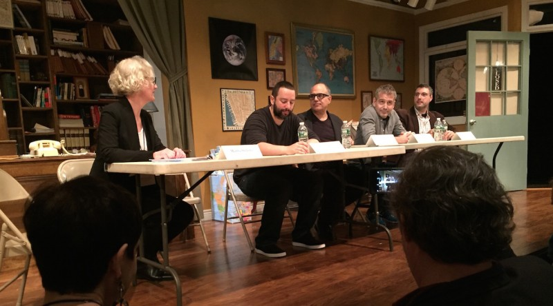 ATCA member Martha Wade Steketee, left, moderates panel with THE BAND'S VISIT creative team, from left: Itamar Moses (book), David Yazbek (music & lyrics), David Cromer (director) and Orin Wolf (producer). Photo by Pam Harbaugh