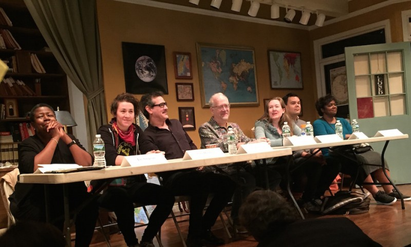 Wm. F. Hirschman (not pictured) moderated panel of critics and dramatists . From left: critics Janice C. Simpson, Sara Holdren, Adam Feldman; dramatists Doug Wright, Sarah Ruhl, Robert Lopez and Kirsten Childs. Photo by Pam Harbaugh.