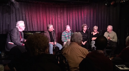 Panel of originators of roles in Stephen Sondheim musicals: From left: Rick Pender (moderator), Kurt Peterson, Harvey Evans, Pamela Myers, Teri Ralston and Len Cariou. Photo by Teddie Hathaway.