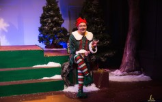 BeeJay Aubertin Clinton as Crumpet the Elf in the Henegar Center's THE SANTALAND DIARIES. Photo by Dana Niemeier