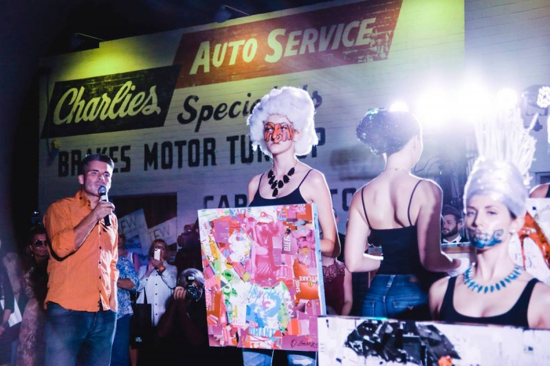 Derek Gores at solo show to kick off Tucson Fashion Week in 2015.